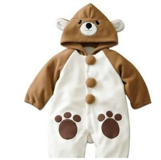 C1520 Toddler Baby Boys Girls Outfit One Piece Cute Sets Cartoon Fleece Costume