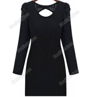 New Mini Sexy Long Sleeve Backless Clubwear Party Cocktail Rose Lace Dress Black