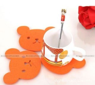 New Fashion Cute Orange Baby Bear Face Shaped Felt Coaster Set of 4 HOME004