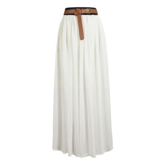 Women Double Layer Chiffon Maxi Dress Pleated Retro Long Elastic Waist Skirt