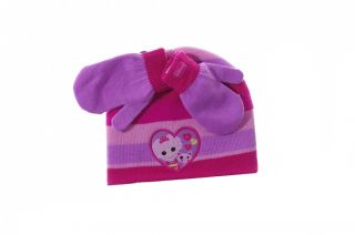 Girls Toddler Pink Purple Lalaloopsy Warm Winter Hat Cap Mittens One Size New