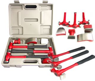 7pcs Fender Hammer Auto Body Repair Kit Dolly Case