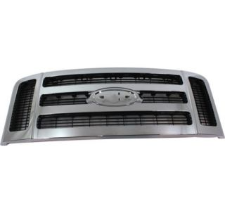 New Grille Assembly Grill Chrome Shell Dark Gray Insert F450 Truck F250 F350 Car
