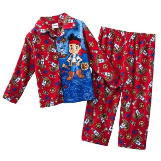 Disney Jake Neverland Pirates Kids Boys Flannel Sleepwear Pajama Set New