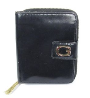 Gucci Black Patent Leather Bifold Wallet Zipper Coin Change Purse