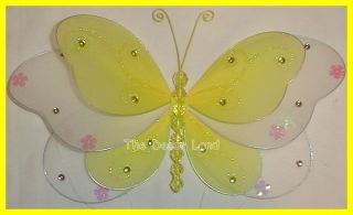 "13"" Yellow Layered Butterfly Wall Hanging Bedroom Decoration Girls Baby Toddler"