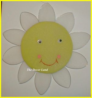 "16"" Smiley Yellow Sun Nursery Wall Hanging Room Decor"