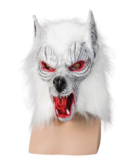 White Wolf Mask Scary Zombie Wolf Psycho Werewolf Man Halloween Fancy Dress