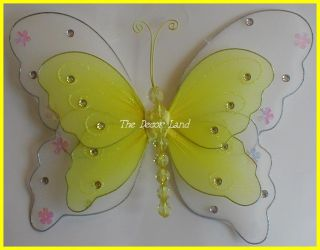 "13"" Yellow Layered Butterfly Wall Hanging Girls Room Decoration Ceiling Party"