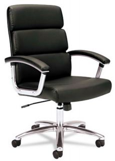 New Mid Back Executive Office Desk Chair Black Leather Aluminum Base Arm Rests