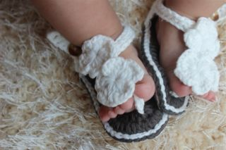 New Cute Handmade Knit Crochet Flower Baby Sandals Shoes Newborn Photo Props