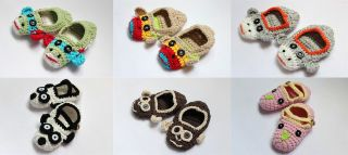 Cute Handmade Knit Cotton Animal Shoes Newborn Baby Girls Boys Photograph New