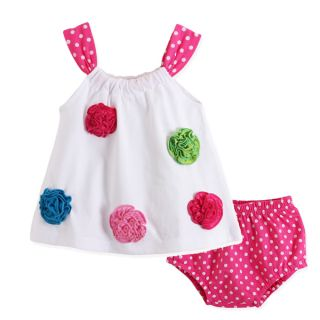 2pcs Infant Kids Infants Baby Girl Flower Top Pants Polka Clothes Outfits Sets
