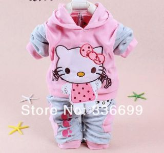 Baby Kids 2pcs Clothes Set Girls Hoody Pants Suit Children Sport Hello Kitty