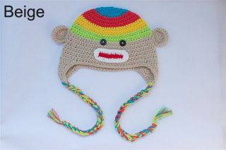 Lovely Handmade Baby Child Crochet Sock Monkey Hat Beige 2 3Year Photo Prop New