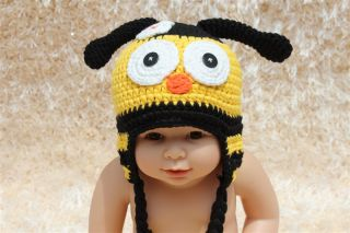 New Cute Cotton Handmade Baby Knit Crochet Bee Hat Cap Newborn Photo Prop Gift
