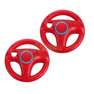 2 x Red Steering Wheel Mario Kart Racing for Wii Game