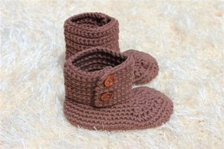 Handmade Knit Cotton Crochet Baby Boots Shoes Newborn Photo Props New 12 Color