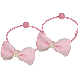 Double Ribbon Bow Faux Pearl Flower Girls Ponytail Holder Set 4 Pcs