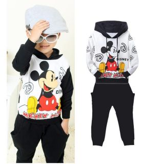 1 Toddler Boys Cotton Mickey Mouse Hooded Jacket Pants Outfits 2 3Y