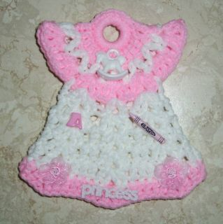 Baby Doll Dress Ornament Wall Hanging Crochet Pink and White Cute Trims New