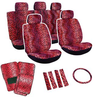 15pc Set Seat Cover Red Leopard Cheetah Animal Floor Mat Wheel Belt Head Pads