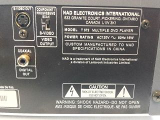 NAD T572 DVD CD  Player 5 Disc Player Changer Does not Play DVDs