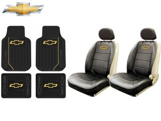 8 PC Chevrolet Chevy Elite Seat Covers Syn Leather Front Rear Rubber Floor Mat