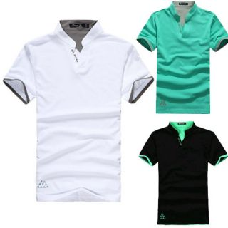 Men's V Neck Cotton Polo Shirts Short Sleeved Fit Casual T Shirt M L XL XXL XXXL