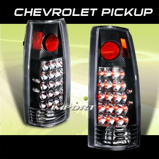 1988 1998 Silverado Sierra C K Pickup Fleetside Black Chrome LED Tail Light Lamp