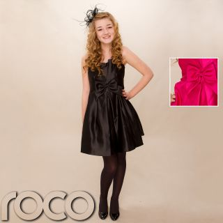 Teens Black Hot Pink Dress Prom Bridesmaid Wedding Party Dress Age 6 14 Years