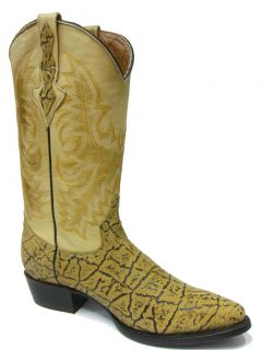 Men's Orix Tan Leather Elephant Design Cowboy Boots for Western Rodeo J Toe