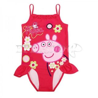 Peppa Pig Girls One Piece Floral Swimsuit Swimwear Bathing Suit Costume Sz 3 4
