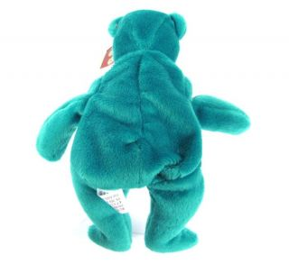 Candy Spelling's Beanie Baby Old Face Teal Green Teddy Bear 1993 1st Gen Tush
