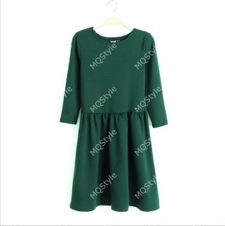 Womens Fashion Crewneck Pleated Hem Sexy Long Sleeve Mini Dress 5 Colors B3228