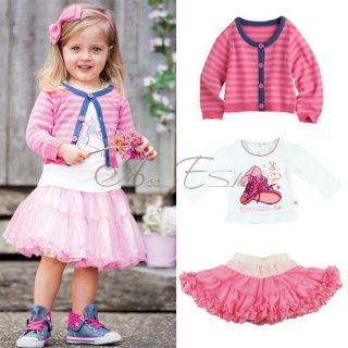 Girl Kids Stripe Cardigan T Shirt Tutu Skirt 3 PC Set Fancy Outfit Age 1 5 Years