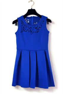 New Womens European Fashion Lace Carved Hollow Sleeveless Mini Dress Blue B1045