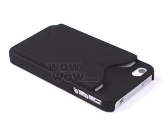 Black ID Business Credit Card Holder Case Back Cover for Apple iPhone 4GS 4S