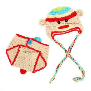 2pcs Cotton Girl Boy Baby Cap Hat Pants Crochet Knit Photo Prop Monkey Outfit