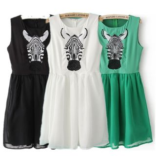 New Womens European Fashion Zibra Embroidery Sleeveless Dress 3 Colors B2395