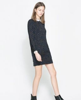 Womens European Fashion Doll Collar Dot Print Long Sleeve Mini Dress B4102