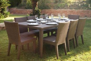 Soho 9 Piece Patio Dining Set Large Rectangular Table with Six Side Chairs