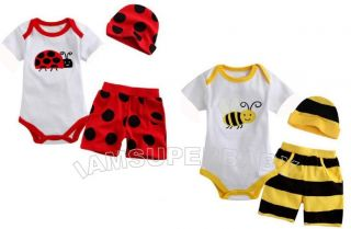 0 18M 3 Pcs Baby Boy Twins Bumble Bee Ladybird Animal Summer Safari Party Set