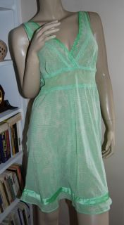 Victorias Secret Size M Sheer Chemise Nightie Spring Green Nightgown Lingerie M