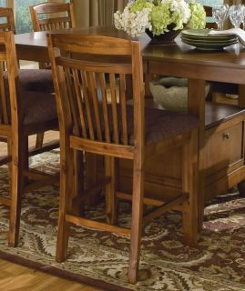 Oakridge 9pcs Cottage Warm Brown Square Counter Height Dining Table Chairs Set