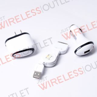 For New iPhone 4 4S Retractable USB Data Cable White Car DC Home Wall AC Charger