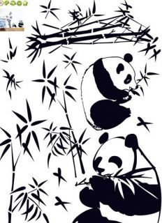 Brand New Panda Bamboo Pattern DIY Adhesive Removable Wall Decal Wall Stickers