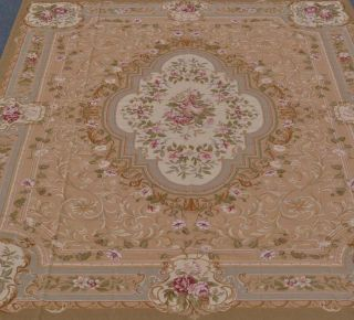 "8'8""x11'1"" Tan Beige Sage Green French Aubusson Design Wool Needlepoint Area Rug"