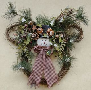 Rustic Country Christmas Wreath with Snowman Rustic Bells Burgundy Fabric Bow