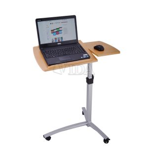 Angle Height Adjustable Rolling Laptop Desk Over Bed Hospital Table Stand